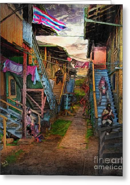 Tin Pan Alley Greeting Cards - A Honolulu Tin Pan Alley Tenement Greeting Card by Patrick J Gallagher