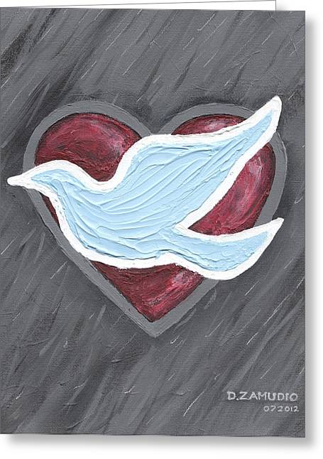 Dove Pastels Greeting Cards - A hopeful heart - by David Zamudio Greeting Card by David Zamudio