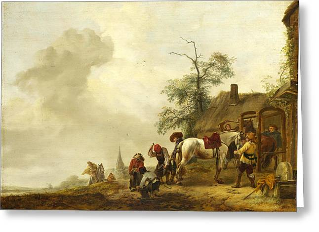 Smithy Greeting Cards - A Horse being Shod outside a Village Smithy Greeting Card by Philips Wouwerman