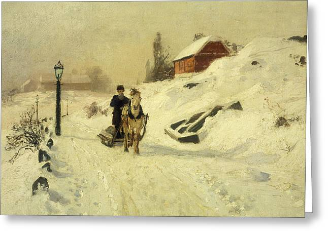 Thaulow Greeting Cards - A Horse Drawn Sleigh in a Winter Landscape Greeting Card by Fritz Thaulow