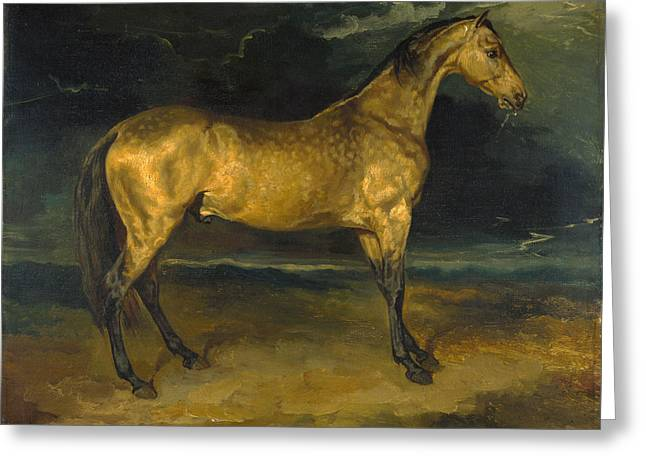 Gericault Greeting Cards - A Horse frightened by Lightning Greeting Card by Jean-Louis-Andre-Theodore Gericault