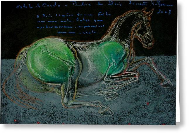 Lemon Art Pastels Greeting Cards - A Horse From Two Lemons Greeting Card by House Brasil