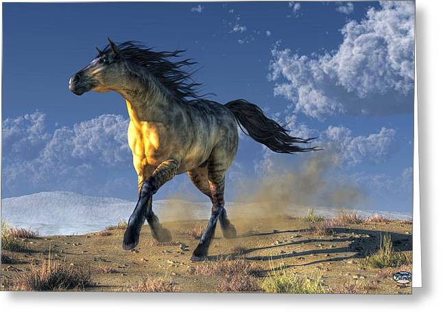 Wild Horse Digital Art Greeting Cards - A Horse in the Desert Greeting Card by Daniel Eskridge