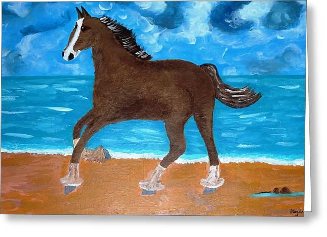 Magdalena Frohnsdorff Greeting Cards - A Horse On The Beach Greeting Card by Magdalena Frohnsdorff