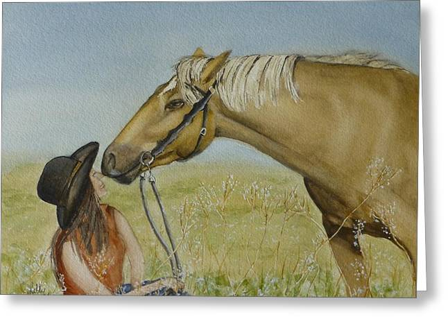 Owner Greeting Cards - A Horses Gentle Touch Greeting Card by Kelly Mills