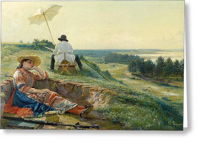 A Hot Summer Day Greeting Cards - A hot summer day. The artist at work Greeting Card by Vasili Andreyevich Golynsky