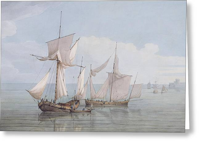 A Hoy And A Lugger With Other Shipping On A Calm Sea  Greeting Card by John Thomas Serres