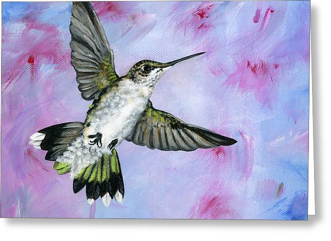 Brianna Greeting Cards - A Hummingbirds Pink Dream Greeting Card by Brianna Mulvale
