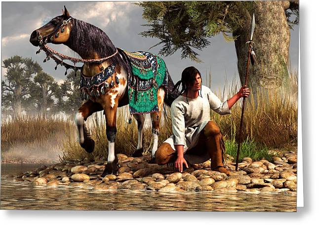 Eagle Feathers Greeting Cards - A Hunter and His Horse Greeting Card by Daniel Eskridge