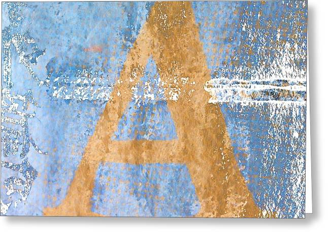 Letters Greeting Cards - A In Blue Greeting Card by Carol Leigh