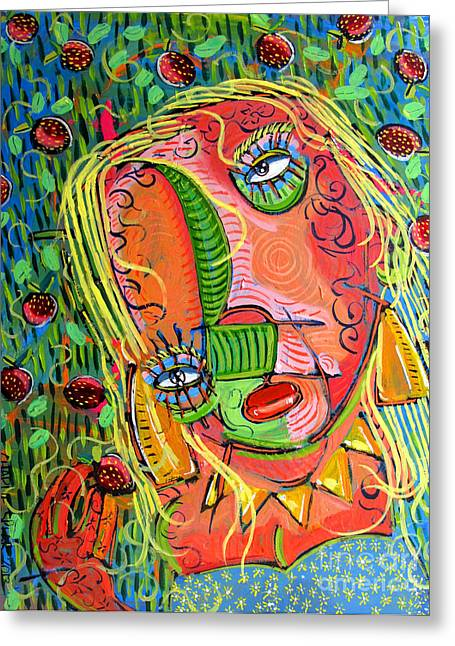 Henna Greeting Cards - A. in Strawberry Fields Forever Greeting Card by Charlie Spear