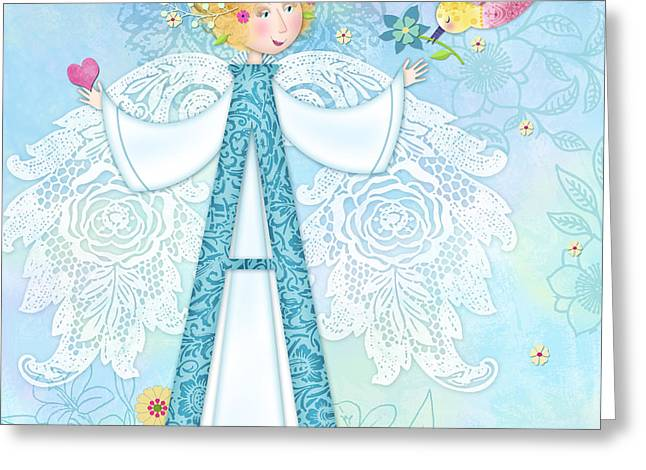 Valerie Lesiak Greeting Cards - A is for Angel Greeting Card by Valerie Drake Lesiak