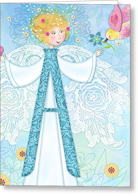 Storybook Mixed Media Greeting Cards - A is for Angel Greeting Card by Valerie Drake Lesiak