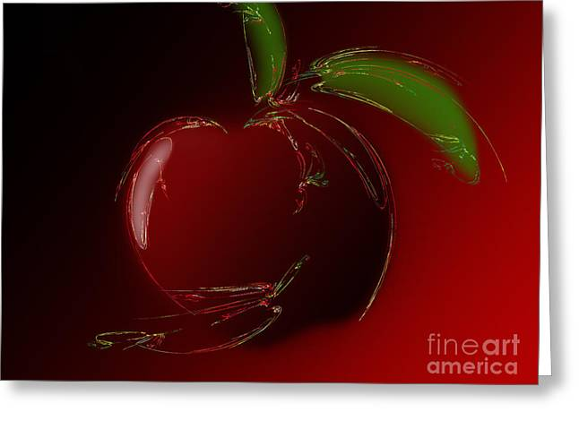 Apple Art Mixed Media Greeting Cards - A Is For Apple 1 Greeting Card by Andee Design