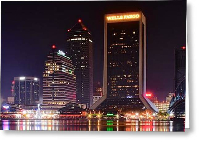Jacksonville Greeting Cards - A Jacksonville Night Panoramic Greeting Card by Frozen in Time Fine Art Photography