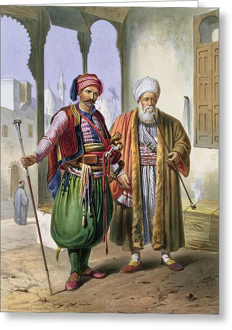 Pipe Drawings Greeting Cards - A Janissary And A Merchant In Cairo Greeting Card by Emile Prisse d