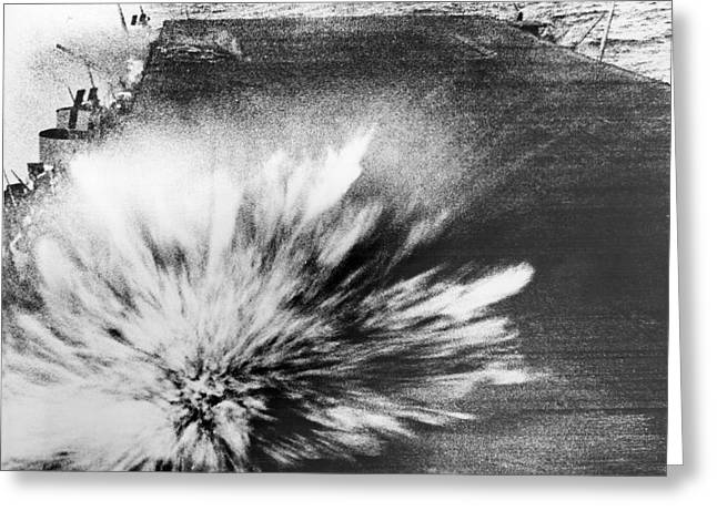 A Japanese Bomb Explodes On The Flight Deck Of The Uss Enterprise Greeting Card by Underwood Archives