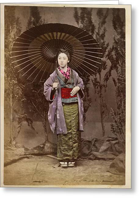 A Japanese Lady With A Parasol Greeting Card by British Library