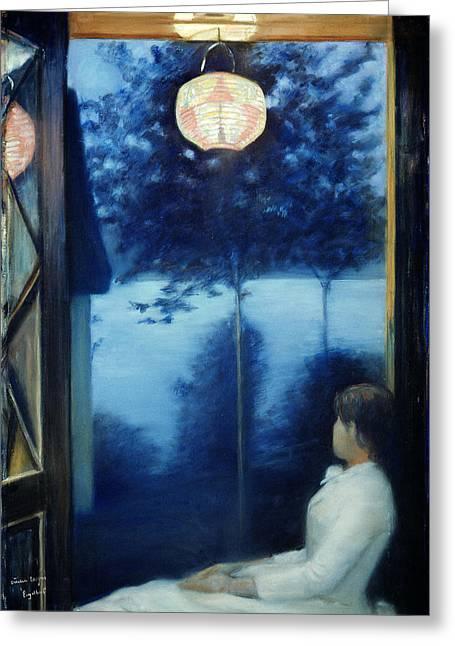 A Japanese Lantern Greeting Card by Oda Krohg