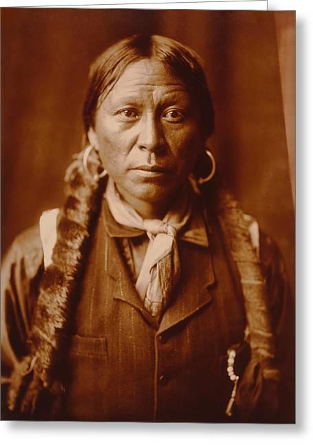 Native American Rug Greeting Cards - A Jicarilla Apache Man Greeting Card by Mountain Dreams