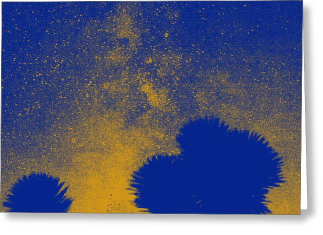 Opt Greeting Cards - A Joshua Tree Meets a Galaxy in Indigo II Greeting Card by Carolina Liechtenstein