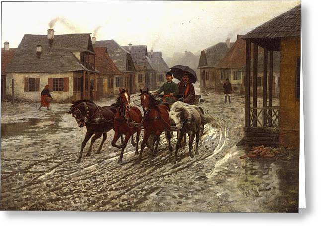 Horse Pulling Wagon Greeting Cards - A Journey in the Rain Greeting Card by A Wierusz Kowalski