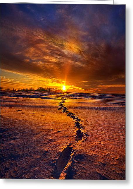 Footprints Photographs Greeting Cards - A Journey To The Shining Star Greeting Card by Phil Koch