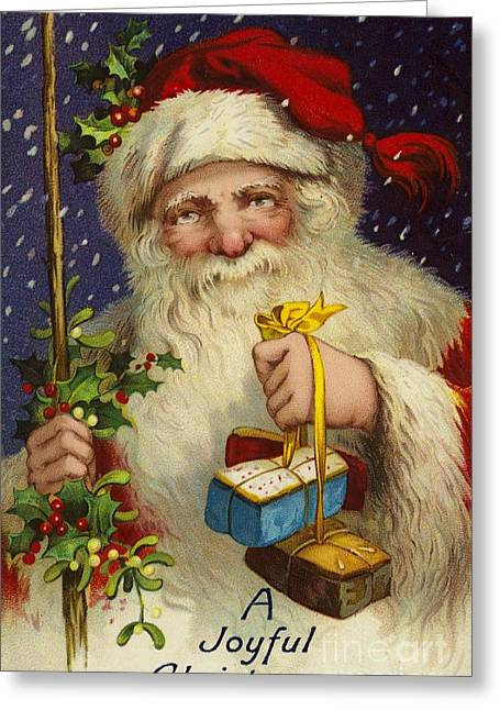 Cards Vintage Paintings Greeting Cards - A Joyful Christmas Greeting Card by English School