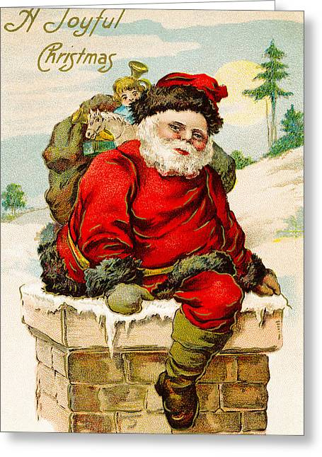 A Joyful Christmas Greeting Card by Vintage Christmas Card