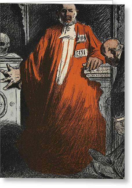Irony Greeting Cards - A Judge In Full Garments, Illustration Greeting Card by Eugene Cadel