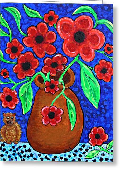 Sarah Loft Paintings Greeting Cards - A Jug of Red Flowers Greeting Card by Sarah Loft