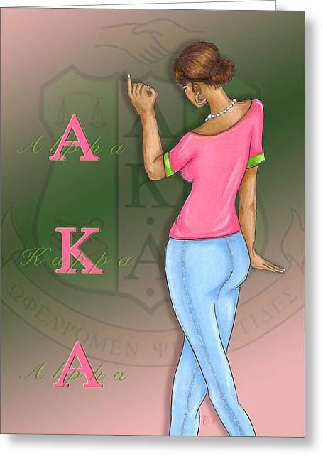Sisterhood Greeting Cards - Alpha Kappa Alpha Greeting Card by BFly Designs