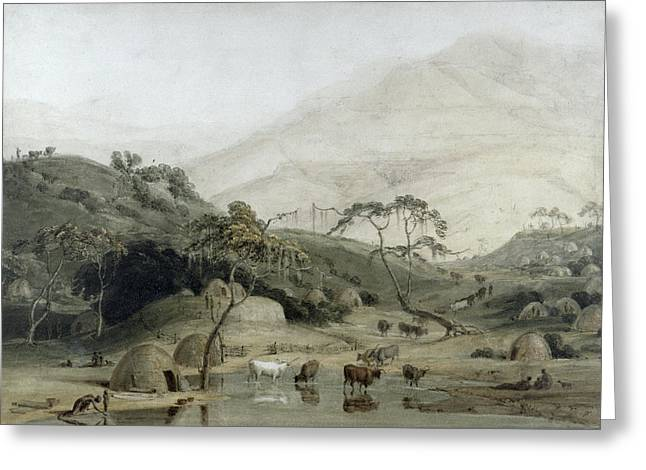 African Huts Greeting Cards - A Kaffir Village, C.1801 Wc & Graphite On Paper Greeting Card by Samuel Daniell