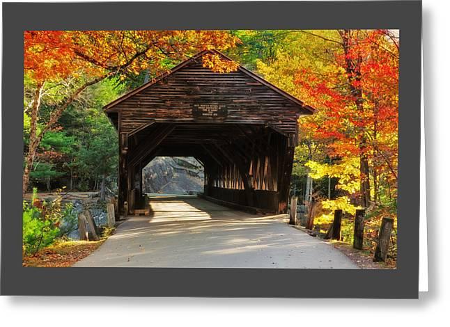 A Kancamagus Gem - Albany Covered Bridge Nh Greeting Card by Thomas Schoeller
