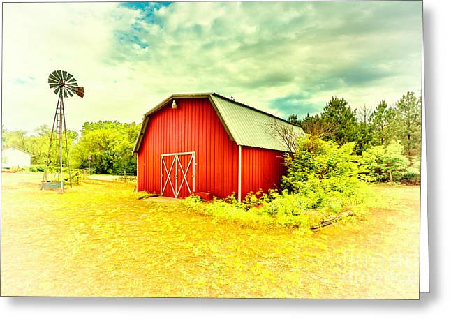 Toto Greeting Cards - A Kansas Barn and Windmill Greeting Card by  Caleb McGinn