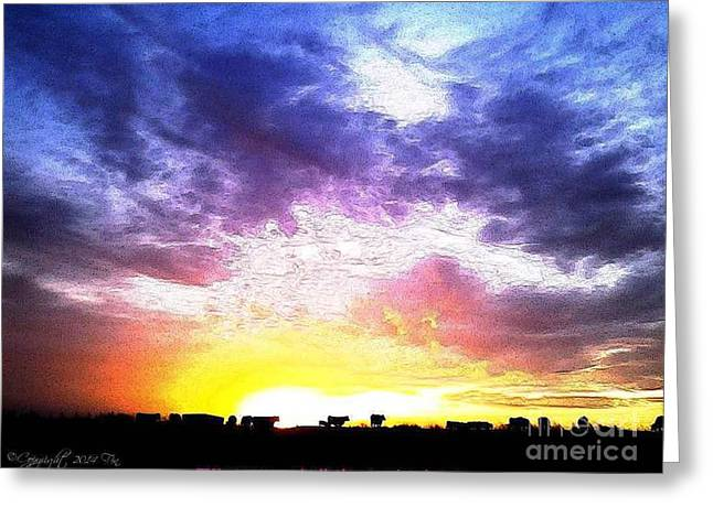 Magazine Cover Mixed Media Greeting Cards - A Kansas Sunrise With The Cows Greeting Card by PainterArtist FIN