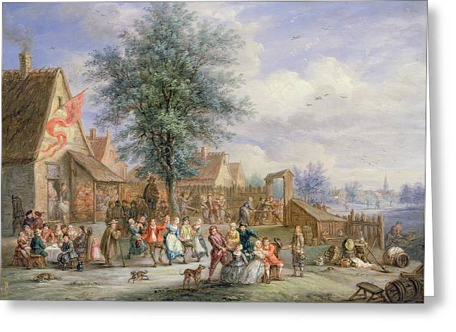 Revelry Greeting Cards - A Kermesse On St. Georges Day Greeting Card by Angel-Alexio Michaut