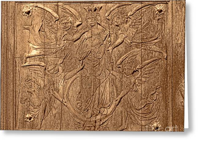 France Doors Greeting Cards - A King Carved in Wood Greeting Card by Olivier Le Queinec