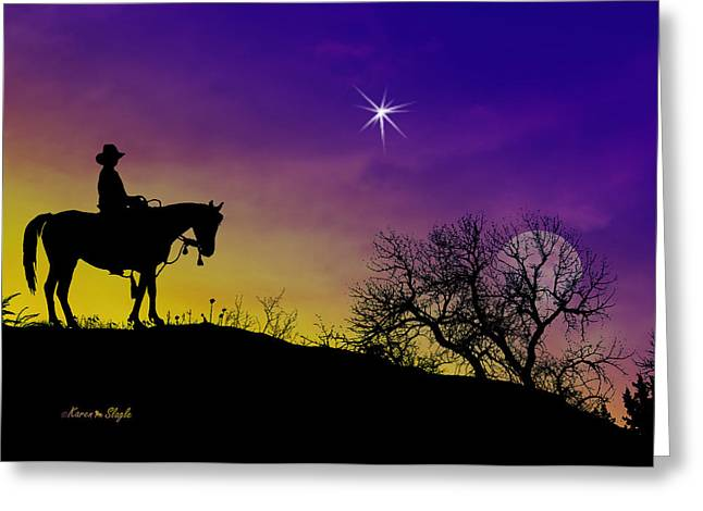 Star Of Bethlehem Greeting Cards - A King is Born Greeting Card by Karen Slagle