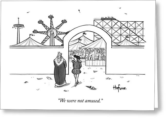 A King Leaves An Amusement Park With His Valet Greeting Card by Kaamran Hafeez