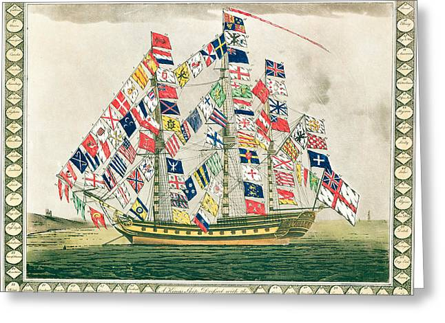 Seascape Drawings Greeting Cards - A King s Ship dressed with the colours of different nations 6th October 1794 Greeting Card by English School