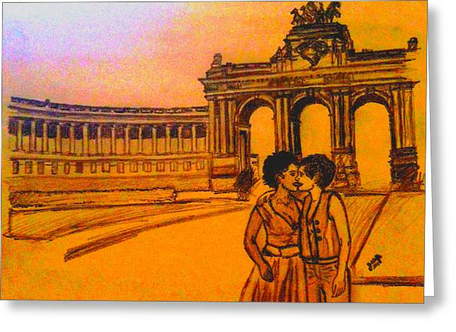 Interracial Art Greeting Cards - A Kiss in Belgium Greeting Card by Jasmine Wolfe