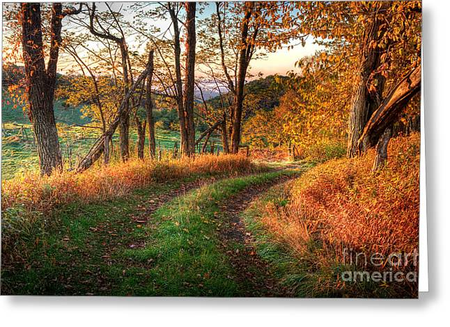 Country Framed Prints Greeting Cards - A Kiss of Fall Colors I - Blue Ridge Parkway Greeting Card by Dan Carmichael