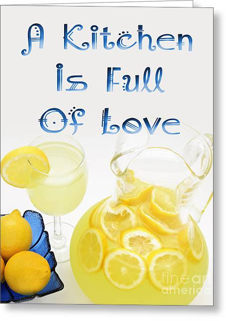 Lemon Art Greeting Cards - A Kitchen Is Full Of Love 3 Greeting Card by Andee Design