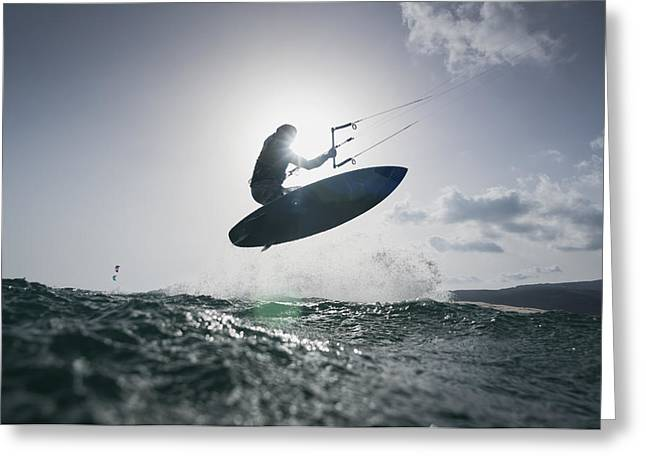 45-49 Years Greeting Cards - A Kitesurfer On His Board In Mid-air Greeting Card by Ben Welsh