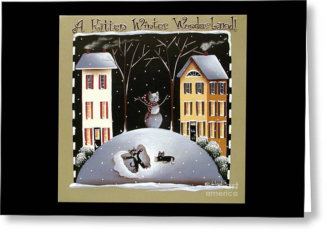 Primitive Greeting Cards - A Kitten Winter Wonderland Greeting Card by Catherine Holman