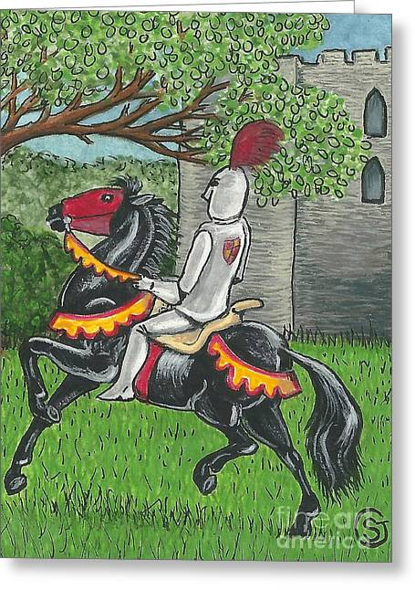 Knights Castle Paintings Greeting Cards - A Knight and His Steed -- Back From the Conquest Greeting Card by Sherry Goeben
