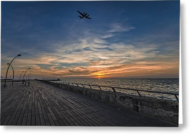 a kodak moment at the Tel Aviv port Greeting Card by Ron Shoshani