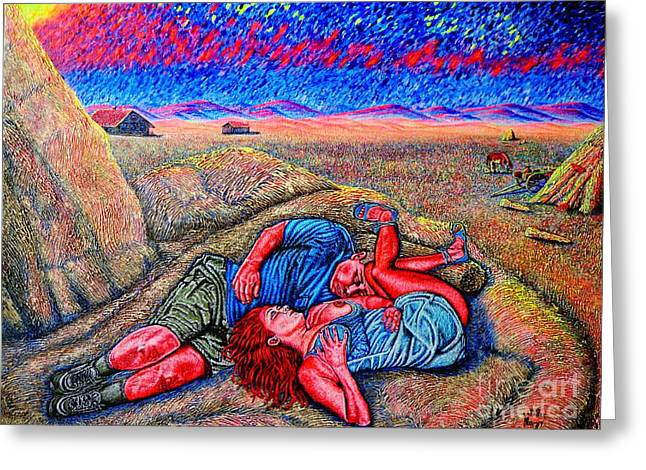 Van Gogh Style Greeting Cards - A la campagne/at the country/ Greeting Card by Viktor Lazarev