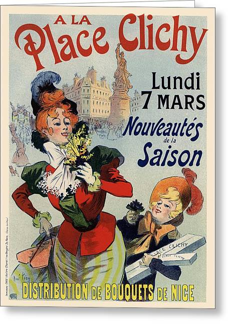 Belle Epoque Greeting Cards - A la Place Clichy Greeting Card by Gianfranco Weiss